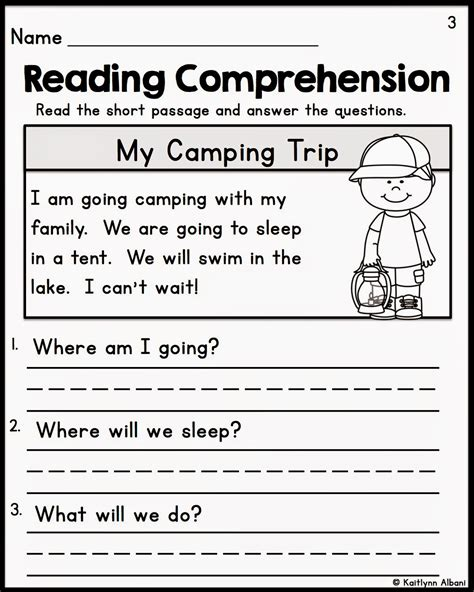 printable reading comprehension test kindergarten reading comprehension worksheet