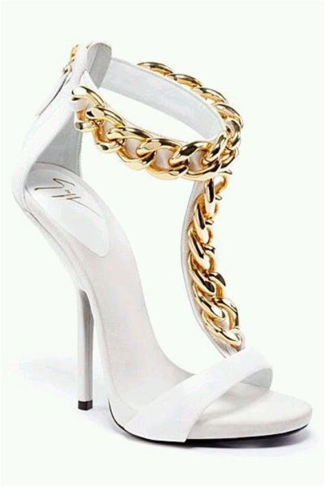 high heel white prom sandals with gold chain details