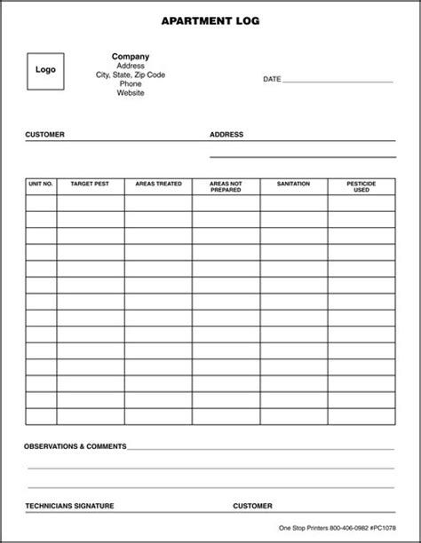 Pest Control Apartment Log One Stop Printers Direct Mail Service Pest Log Sheet Template