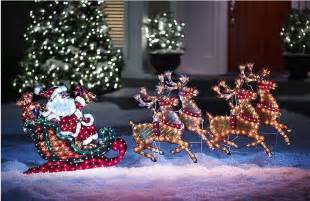 outdoor lighted reindeer and sleigh 5 foot outdoor lighted holographic santa and reindeer