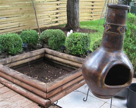 outdoor fireplace using a chiminea
