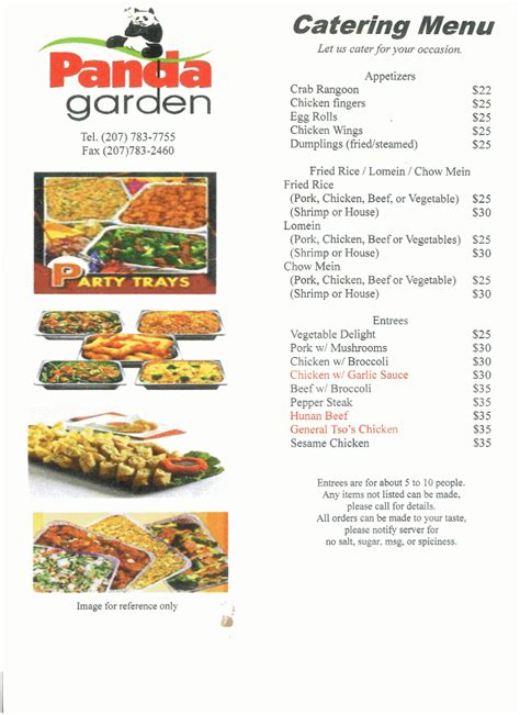 Vegetable Garden Menu Panda Garden Restaurant Auburn Maine Menusinla