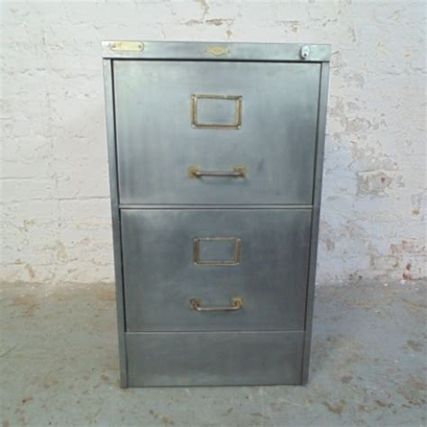 vintage metal 2 drawer stripped steel filing cabinet