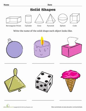 Solid Shapes Worksheets by Geometric Solid Shapes Worksheet Education