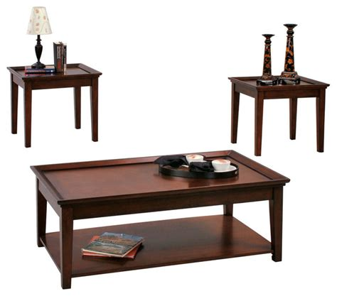 Encore 3 Piece Cocktail Table Set With Casters And 2 Ends Contemporary Coffee Table Sets