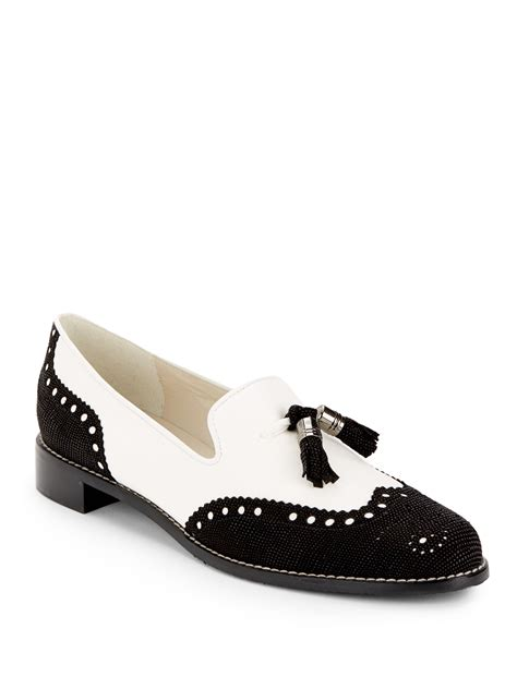 brogue loafers stuart weitzman guything brogue loafers in white black