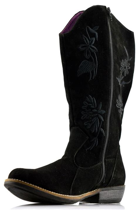 womens cowboy low heel mid calf zip biker