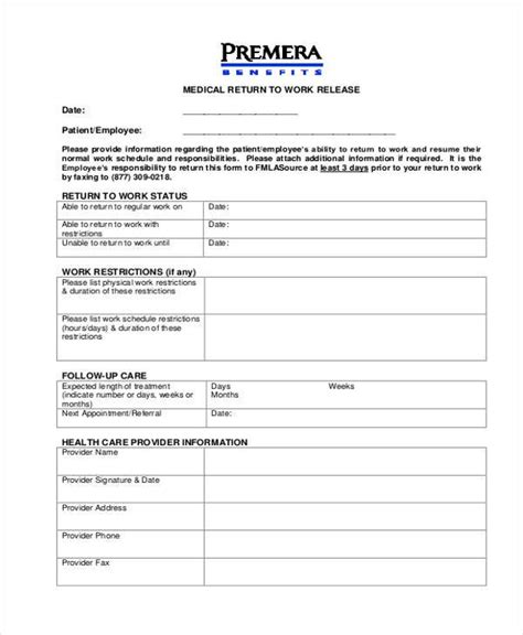 return to work form employee clearance form