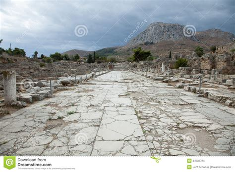 ancient greek roads lechaion road stock photo image of ancient stone