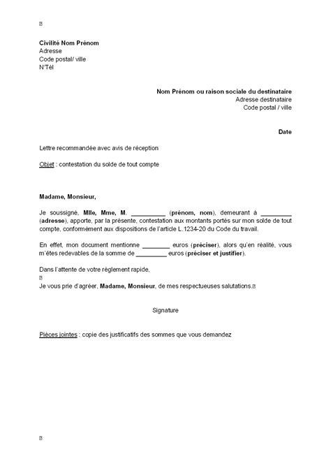 Exemple De Lettre Solde Tout Compte Lettre De Contestation Du Solde De Tout Compte Mod 232 Le De