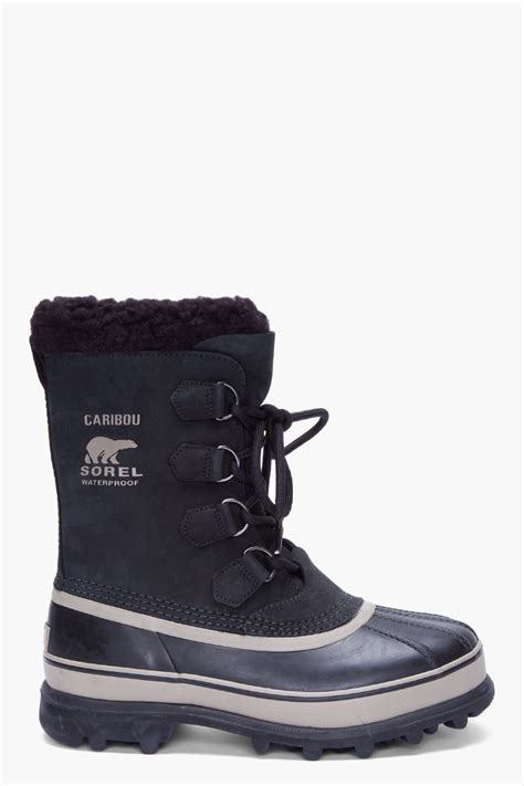 caribou boots sorel black nubuck caribou boots in black for lyst