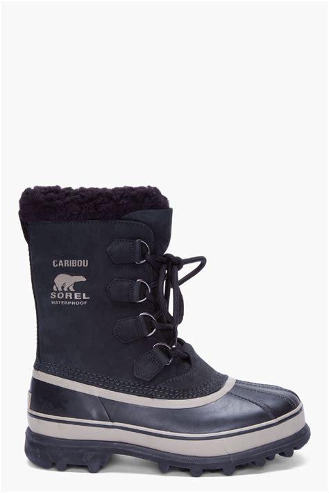 sorel black nubuck caribou boots  black  men lyst