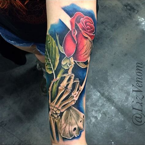 dying rose tattoo lizvenom decaying with skeleton by liz