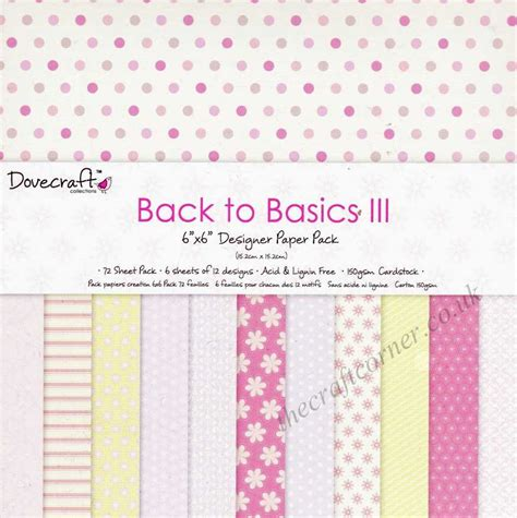 Designer Craft Paper - back to basics iii 6 x 6 designer paper pack by dovecraft