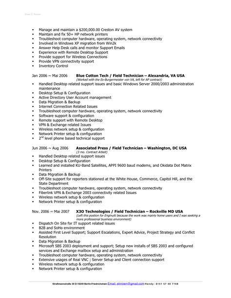 Computer Technician Sle Resume sle resume for computer repair technician 28 images 28