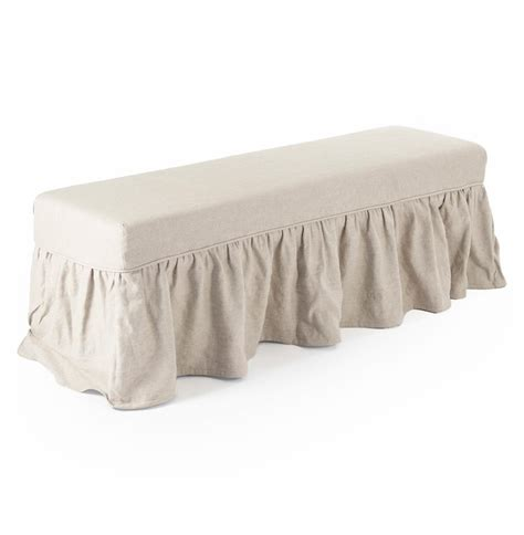 bench slipcover delors french country linen slipcover skirt bench kathy kuo home