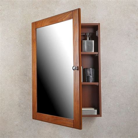 Medicine Cabinet Oak Finish Single Framed Mirror Door Bathroom Mirror Medicine Cabinet