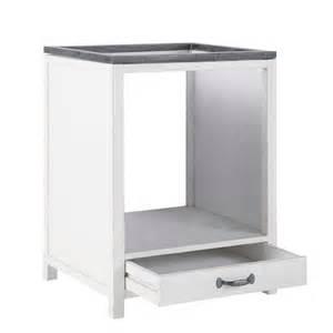 meuble bas de cuisine pour four en bois recycl 233 blanc l 64