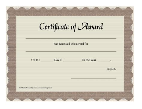 template for awards certificate free printable blank award certificate templates chainimage