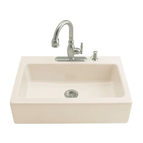 Kohler Farmhouse Kitchen Sink Kohler Dickinson Undermount Farmhouse Apron Front Cast Iron 33 In 4 Single Bowl Kitchen