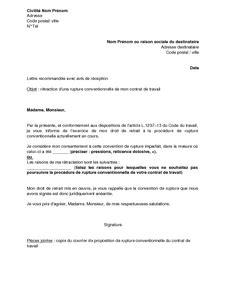 lettre de r 233 tractation par le salari 233 de la rupture