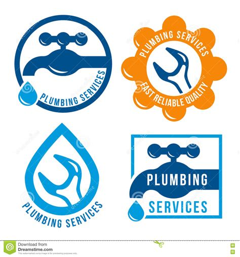 Set Of Plumbing Theme Logo Template Stock Vector Illustration 76999159 Free Plumbing Logo Templates