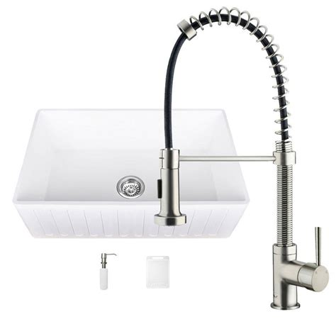 farmhouse sink with faucet holes vigo all in one 33 in 0 hole matte stone farmhouse
