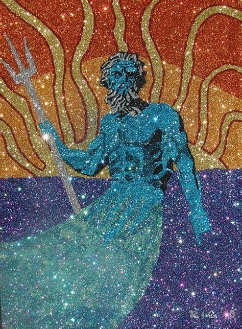 painting with glitter glitter poseidon painting by richard ian cohen