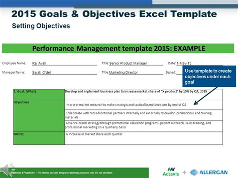 template for goals and objectives goals objectives setting ppt
