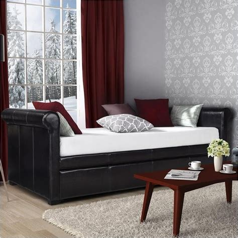 Upholstered Daybed With Trundle Pemberly Row Leather Upholstered Daybed With Trundle In Brown Pr 498871