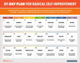 21 day plan for radical self improvement calendar