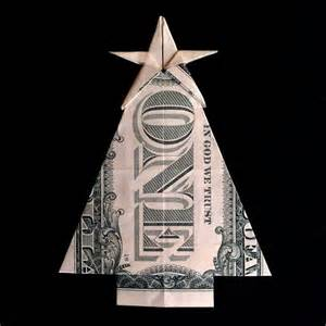 christmas tree with star gift money origami made by