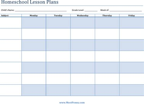 free printable homeschool lesson plan template printable lesson plan templates download free premium