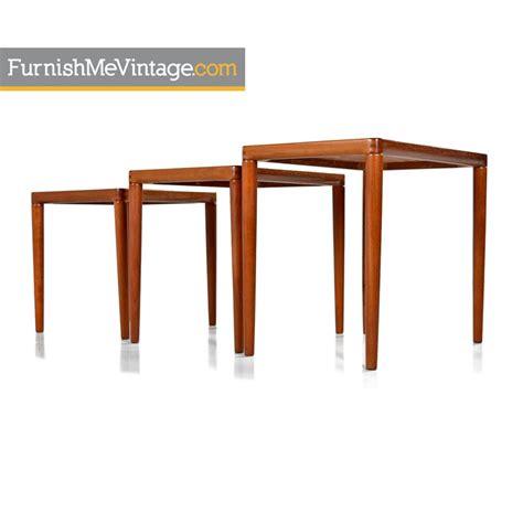 mid century modern nesting tables k t modern teak nesting tables furnish me vintage
