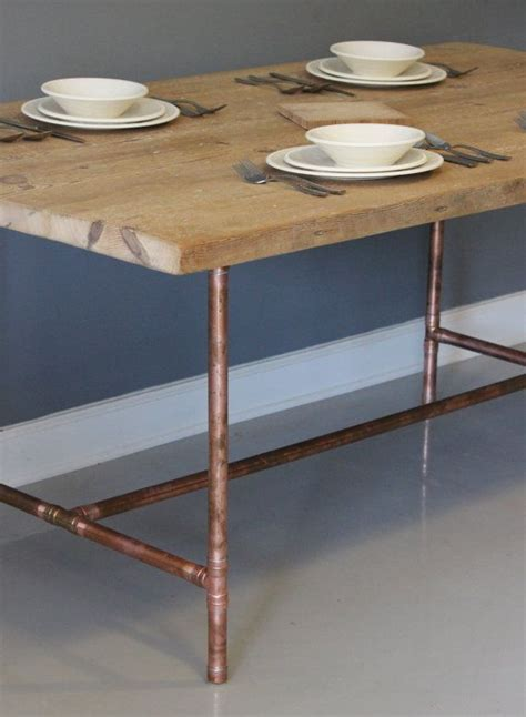 Copper Table Legs by Reclaimed Wood Dining Table Or Desk With Real Copper
