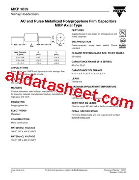 vishay capacitors data sheet mkp1839 datasheet pdf vishay siliconix
