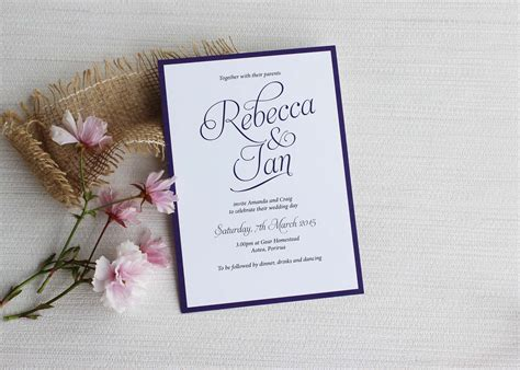 wedding invitation picture simple script wedding invitations be my guest