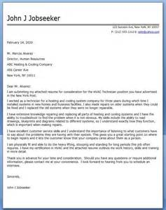 Hvac Mechanic Cover Letter by Hvac Technician Cover Letter Sle Resume Downloads