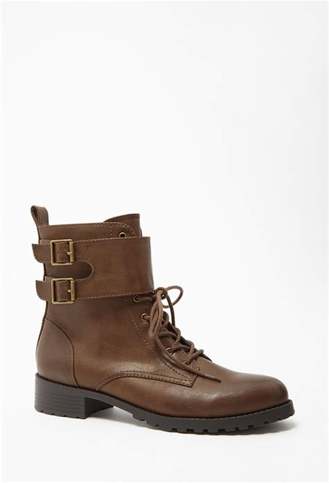 Forever 21 Leather Shoes forever 21 buckled faux leather boots in brown lyst