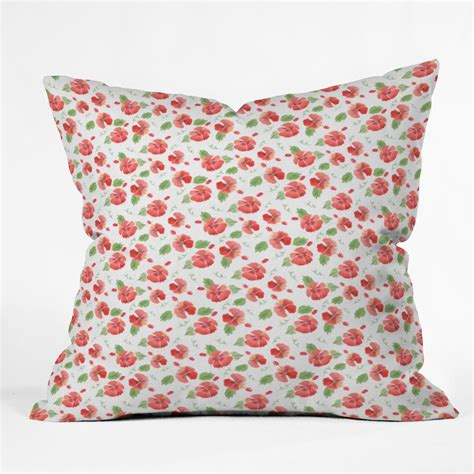 Hawaii Pillow by Hawaiian Hibiscus Throw Pillow Forest