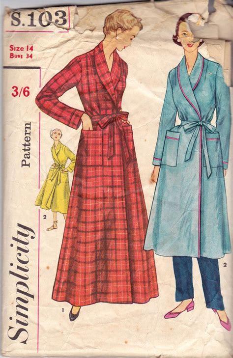 vintage housecoat pattern 1950s simplicity s 103 womens retro robe housecoat vintage