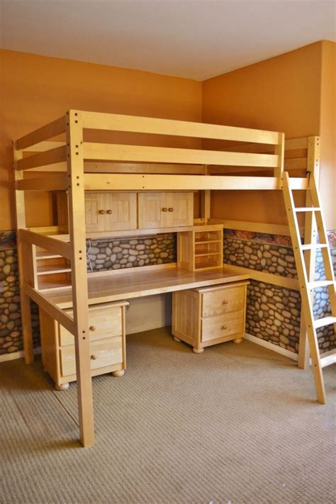 full size bunk beds with desk children s student full sized loft bed and desk system