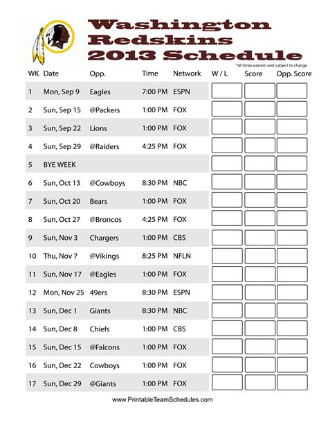 printable nfl team schedule pin by printable team schedules on nfl 2013 team schedules
