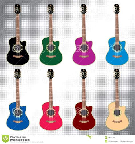 Colored Guitar by Colored Acoustic Guitars Royalty Free Stock Images Image