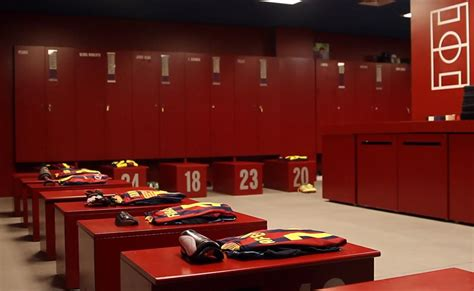 Barcelona Fc Room by Inside Fc Barcelona Locker Room At The C Nou Stadium In Barcelona During The C Nou