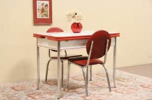 Retro Kitchen Table And Chairs Set Retro 1950 Enamel Chrome Kitchen Table 2 Chairs Dinette Set Ebay