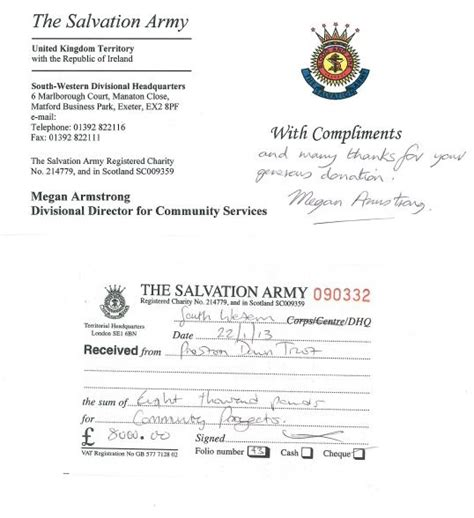 salvation army donation receipt template donation to salvation army by trust