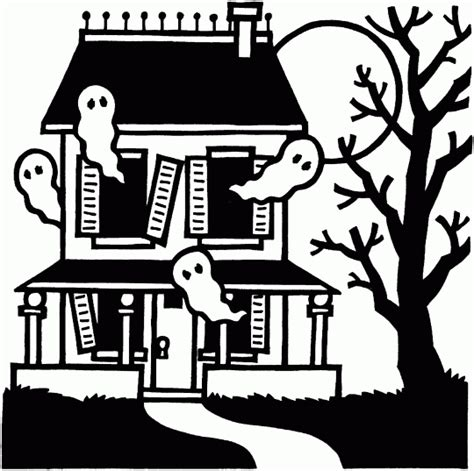 printable haunted house outline free halloween haunted houses coloring pages