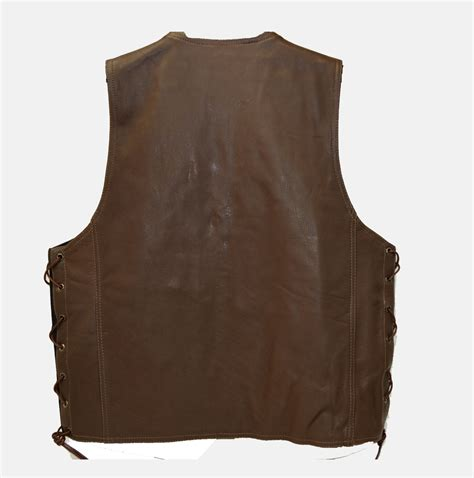 vest with pockets brown leather vest with 6 pockets and side laces bikers gear usa