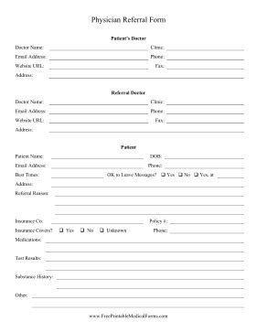 doctor referral form template printable physician referral form